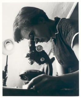 Rosalind Franklin looking under a microscope Retrieved from
